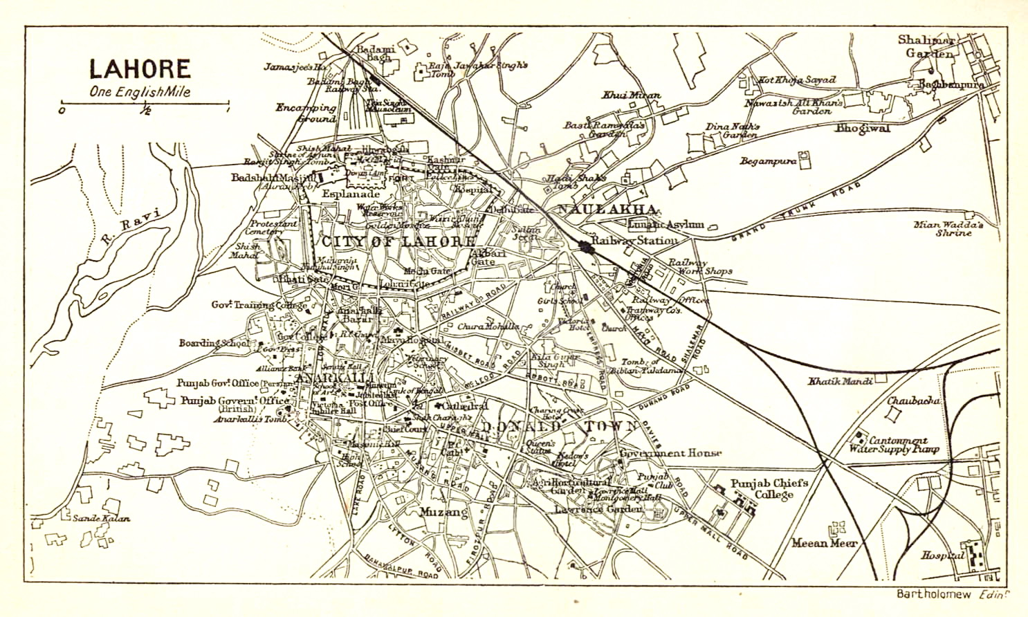 Map of Lahore Lahore Nama