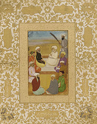 Miniature depicting Hazrat Mian Mir and his disciple, Mullah Shah, in conversation with Prince Dara Shikoh.