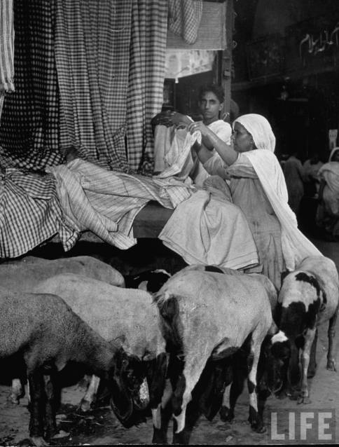 Goats+loll+around+the+feet+of+woman+looking+over+fabrics+at+stall+in+market+-+Lahore+1946