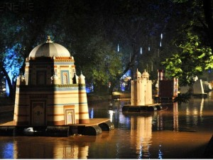 Models of various monuments in Pakistan afloat in the Lahore canal for the Jashan-e-Baharan celebrations