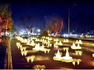 Illuminated lamps dot  the Lahore canal for the Jashan-e-Baharan celebrations