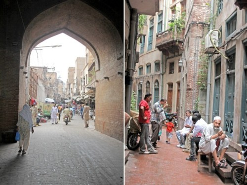 Plaque of the renovated lane fixed next to an old lamp. A view of the street from the Delhi Gate. Residents of Surjan Singh Gali sip tea in their lane. PHOTO: EXPRESS TRIBUNE/HASSAN NAQVI